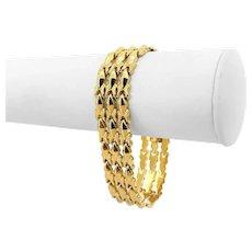 "14k Yellow Gold 28.7g Wide 18mm Ladies Fancy Link Bracelet Italy 7.75"""
