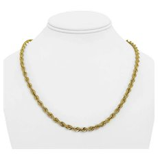 """10k Yellow Gold 9.1g Light Hollow 5mm Rope Chain Necklace Turkey 20"""""""