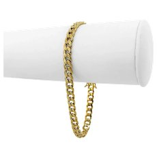 "10k Yellow Gold 8.7g Hollow 5.5mm Cuban Curb Link Bracelet 8"""