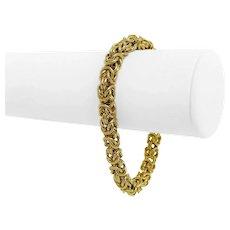 "18k Yellow Gold 20.2g Ladies 7mm Squared Byzantine Link Bracelet Italy 7.5"""