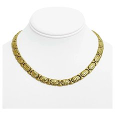 """14k Yellow Gold 36g Ladies 9mm Fancy Link Chain Necklace Italy 16.5"""""""