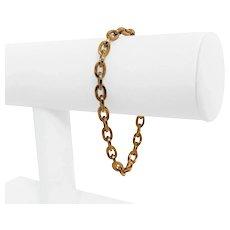 "14k Rose Gold 5.2g Light Hollow 5.5mm Oval Cable Link Bracelet Italy 7.5"""