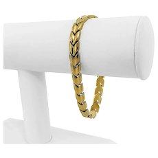 "14k Yellow Gold 12.7g Ladies Polished 7mm Chevron V Link Bracelet Italy 7.25"""