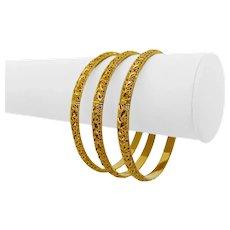 "Set of Three 22k Yellow Gold 26.8g Diamond Cut 5.5mm Bangle Bracelets 8"""