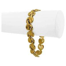"18k Yellow Gold 18.9g Ladies 12mm Fancy Link Bracelet Italy 7.5"""