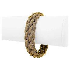 "14k Yellow Gold 28.9g Ladies 15mm Braided Mesh Link Bracelet Italy 7"""