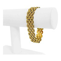 """14k Yellow Gold 28.4g Ladies Wide 15mm Panther Link Bracelet Italy 7"""""""