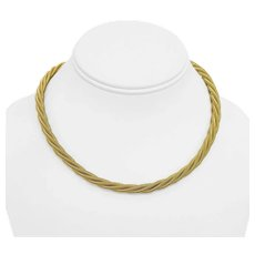 """14k Yellow Gold 53.5g Heavy 6mm Twisted Rope Snake Link Necklace Germany 16.5"""""""