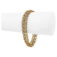 """14k Yellow Gold 19.7g Ladies 6mm Double Circle Curb Link Bracelet 7.25"""""""