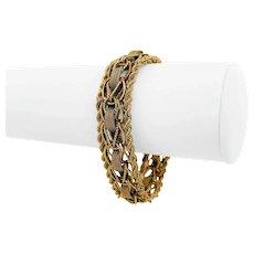 """14k Yellow Gold 40.3g Heavy 15mm Vintage Fancy Link Bracelet 7.25"""""""