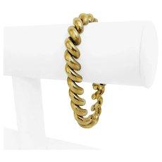 "14k Yellow Gold 25.5g Ladies 10mm Macaroni San Marco Link Bracelet Italy 7.5"""