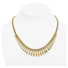 """14k Yellow Gold 11.8g Ladies Vintage Fancy Fringe Drop Link Necklace Italy 17"""""""