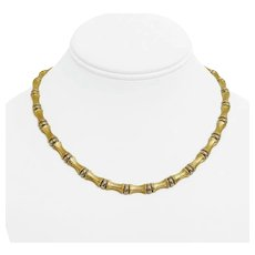 """14k Yellow Gold 26.9g Ladies 6.5mm Bamboo Link Chain Necklace Italy 16.75"""""""