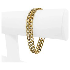 """14k Yellow Gold 20.7g Solid 10.5mm Ribbed Double Curb Link Bracelet 7"""""""