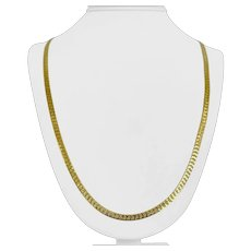 """14k Yellow Gold 17.7g Solid 4mm Diamond Cut Herringbone Link Necklace Italy 30"""""""