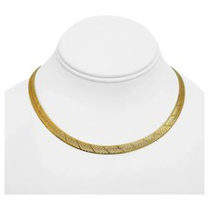 """14k Yellow Gold 24g Solid 6.5mm Diamond Cut Herringbone Link Necklace Italy 16"""""""