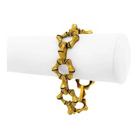 "19k Yellow Gold and Blue Enamel 47g UnoAErre Bamboo Link Bracelet Italy 7.25"""