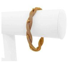 "18k Rosy Yellow Gold 16g Ladies Beaded Braided Mesh Bracelet Italy 7.5"""
