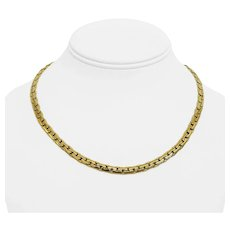 """18k Yellow Gold 17.6g Ladies Thick 4mm Cobra Link Chain Necklace 17.5"""""""