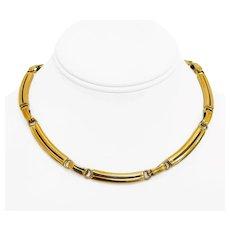"Adler 18k Yellow Gold 49.9g Ladies 7mm Fancy Bar Link Necklace Switzerland 15.5"""