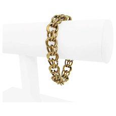"""14k Yellow Gold 49g Solid Heavy 12mm Double Circle Curb Link Charm Bracelet 7.5"""""""