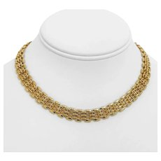 """14k Yellow Gold 32g Ladies Fancy 10mm Panther Bar Link Chain Necklace 15"""""""
