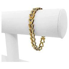 """14k Yellow Gold 11.4g Ladies Light 9.5mm V Link Bracelet Italy 6.75"""""""