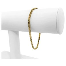 """14k Yellow Gold 8.1g Solid 2.5mm Squared Byzantine Link Bracelet Italy 7.25"""""""