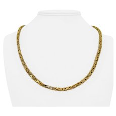 """14k Yellow Gold 43g Solid 3.5mm Squared Byzantine Link Chain Necklace Italy 22"""""""
