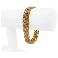 "14k Yellow Gold 18.5g Ladies 12mm Sparkling Fancy Link Bracelet 7.25"""