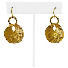 18k Yellow Gold 10.8g Ladies Hammered Satin Finish Disc Earrings Italy