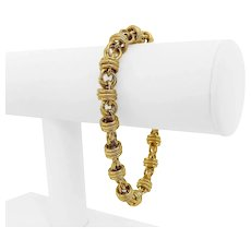 """14k Yellow Gold 14.4g Hollow 12.5mm Fancy Cable Link Bracelet Italy 7.5"""""""