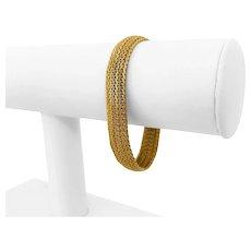 "18k Yellow Gold 20.3g Solid Ladies 10mm Woven Mesh Link Bracelet 7"""