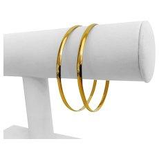 """Pair of 18k Yellow Gold 20g Ladies 3.5mm Polished Finish Bangle Bracelets 8"""""""