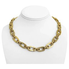 """18k Yellow Gold 55g Ladies 12mm Fancy Oval Link Necklace Italy 18"""""""