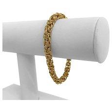 "18k Yellow Gold 16g Ladies 6mm Fancy Byzantine Link Bracelet Italy 7.25"""