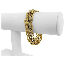 """18k Yellow Gold 18.6g Ladies Hollow 16mm Fancy Curb Link Bracelet Italy 7"""""""