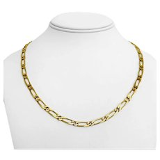 """18k Yellow Gold 23.9g Solid 4.5mm Figaro Link Chain Necklace Italy 20"""""""