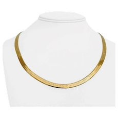 """14k Yellow Gold 19.6g Solid 5.5mm Herringbone Link Chain Necklace Italy 20"""""""