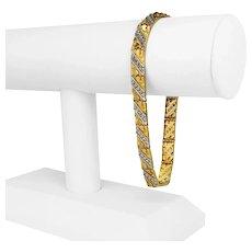 "10k Yellow White Gold 14g Solid Men's 7.5mm Fancy Nugget Bracelet 9"""