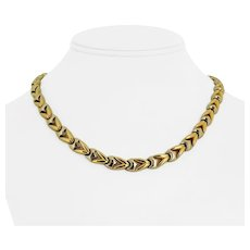 """18k Yellow Gold Two Tone 37.3g Ladies 8mm Fancy Link Chain Necklace Italy 17"""""""
