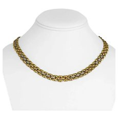 """18k Yellow & White Gold 45.6g Heavy 8.5mm CZ Encrusted Panther Link Necklace 18"""""""
