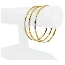 "Set of Three 14k Yellow Gold 10.4g Ladies 3mm Beveled Bangle Bracelets 8.5"""