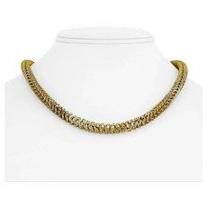 """14k Yellow Gold 12.6g Light Hollow 6mm Open Design Link Necklace Peru 17.5"""""""