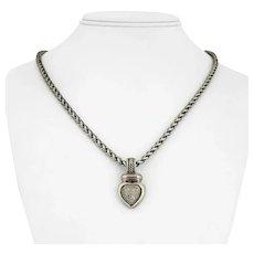 "David Yurman Sterling Silver and 18k Gold Pave Diamond Pendant Necklace 20"""