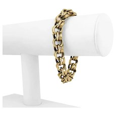 """14k Yellow Gold 45.5g Solid 10mm Polished and Brushed Link Charm Bracelet 7"""""""