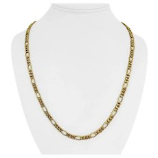 """18k Yellow Gold 16.2g Hollow Ladies 5.5mm Figaro Link Chain Necklace 23"""""""