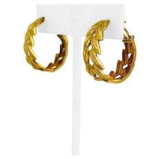 18k Yellow Gold 10.5g Solid Leaf Laurel Wreath Hoop Huggie Earrings