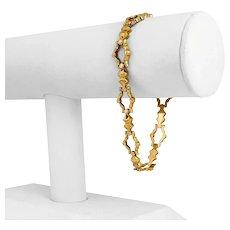 "18k Yellow Gold 9.9g Ladies 11mm Fancy Link Bracelet Italy 7.75"""