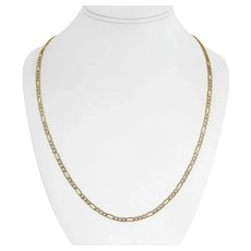 """10k Yellow White Gold 4.7g Hollow Diamond Cut Figaro Link Chain Necklace 24"""""""